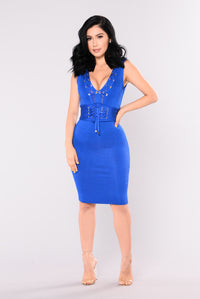 Tie You Down Bandage Dress - Royal