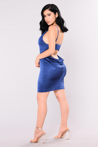 Show Girls Slinky Dress - Navy