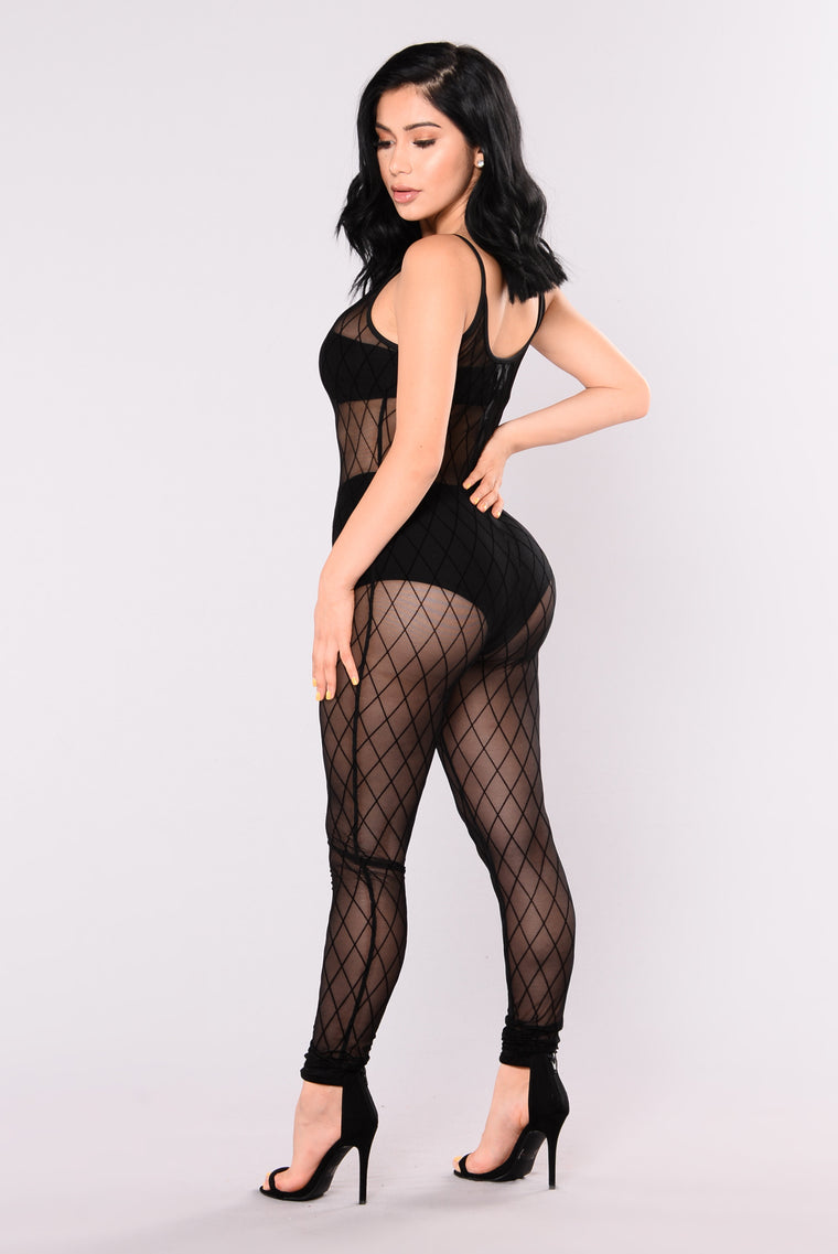 Like A Diamond Mesh Jumpsuit - Black