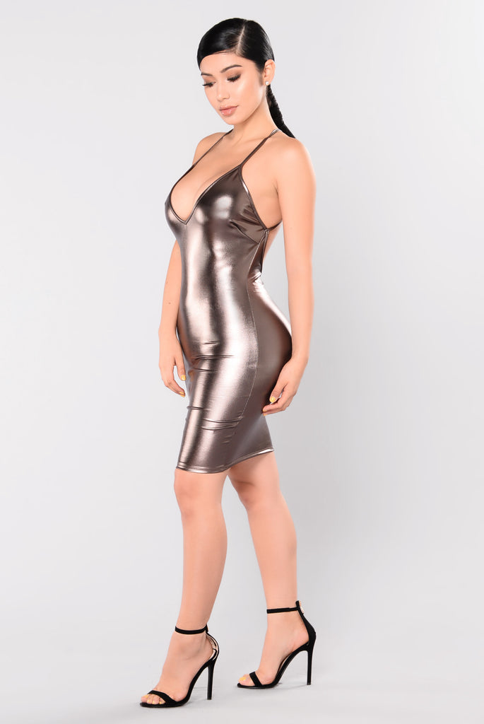 Shining So Bright Foil Dress - Gunmetal