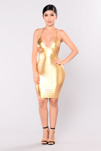 Shining So Bright Foil Dress - Gold