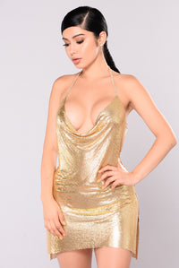 Teigan Metal Dress - Gold