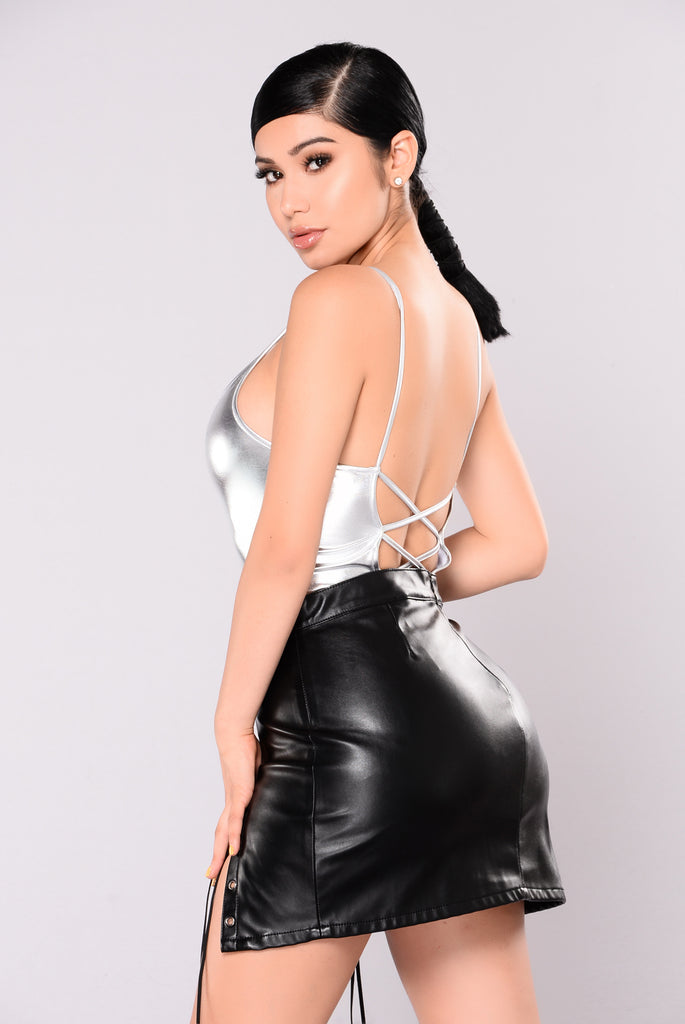 Shining So Bright Foil Bodysuit - Silver