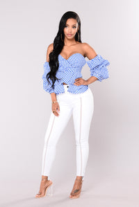 Camari Poplin Top - Royal/White