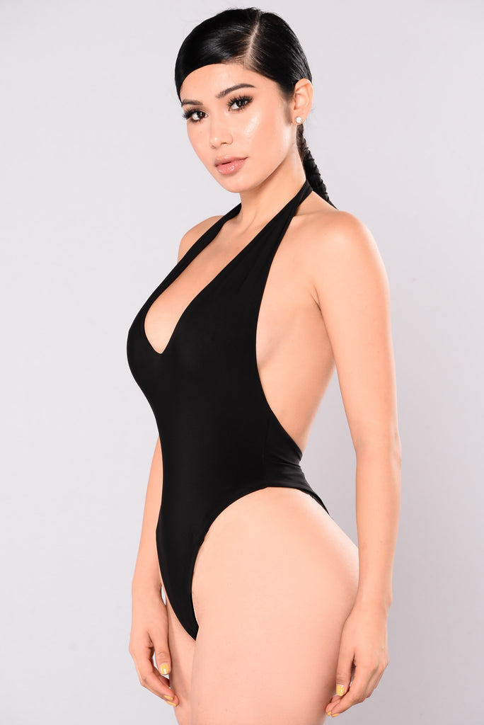 Vibing You Halter Bodysuit - Black