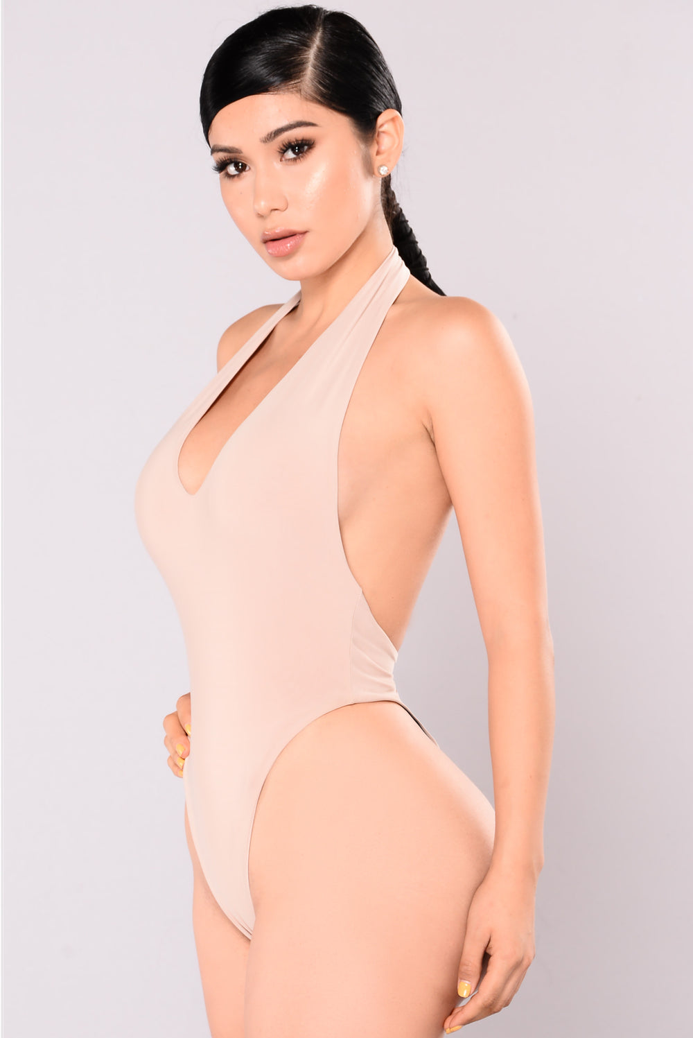 Vibing You Halter Bodysuit - Nude