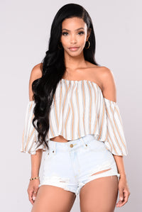 Jodie Off Shoulder Crop Top - Ivory/Multi
