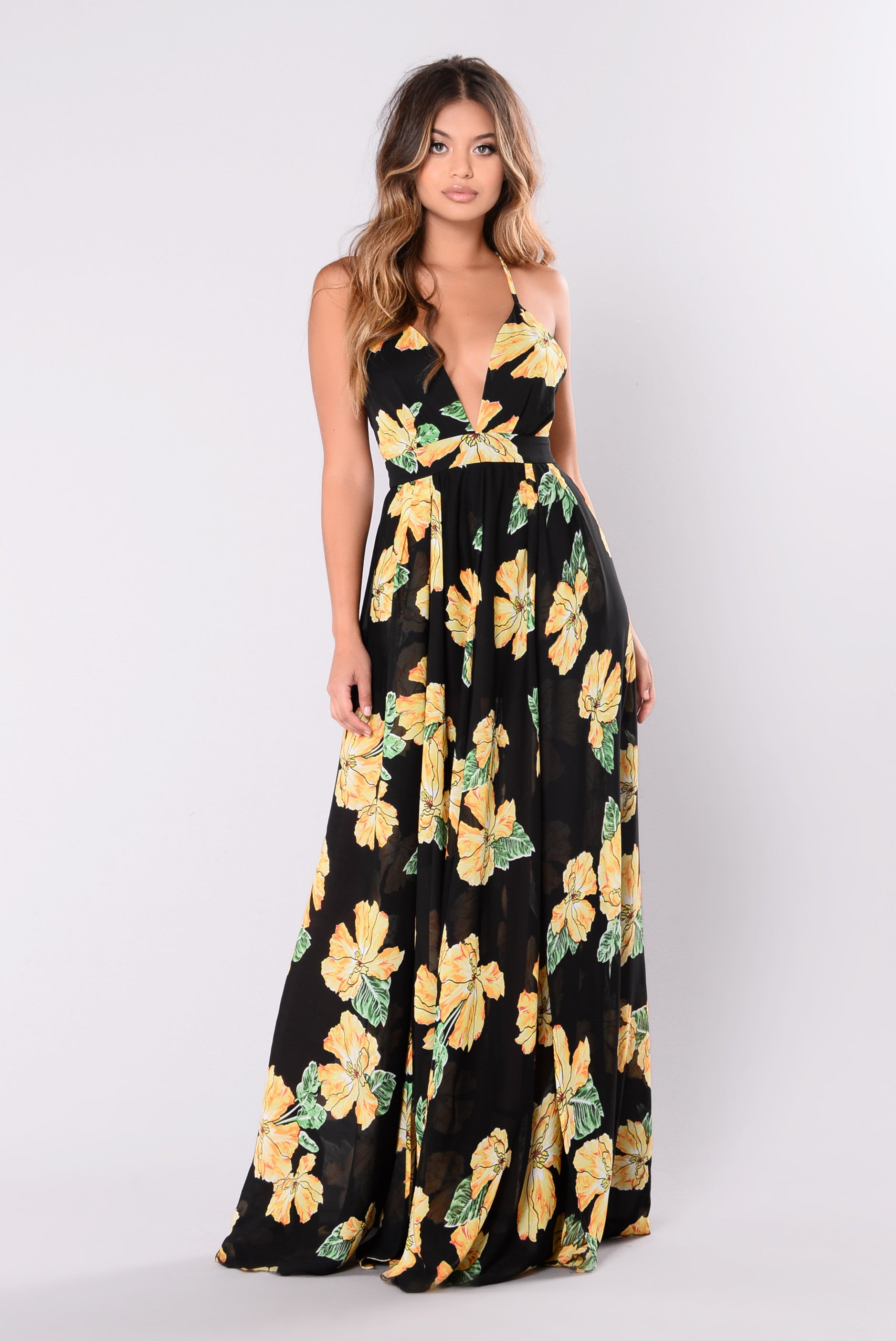 norah floral maxi dress  black
