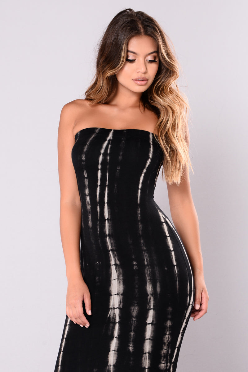 Road Rage Tie Dye Dress - Black