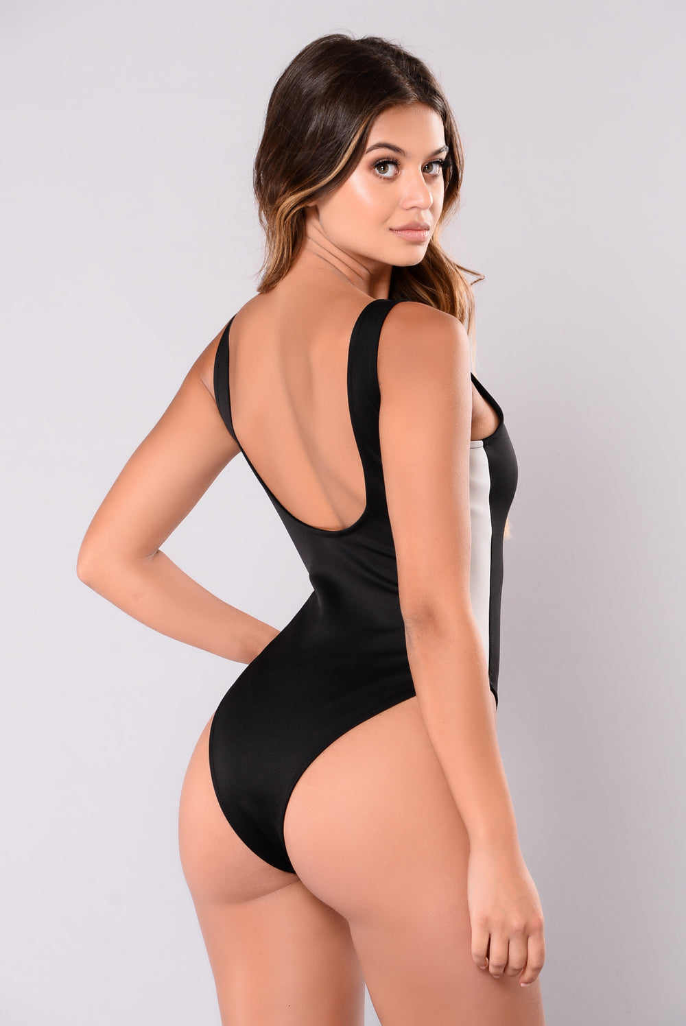 Race Me Sleeveless Bodysuit - Black/White