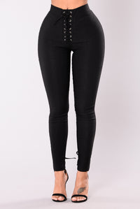 Morena Lace Up Pants - Black