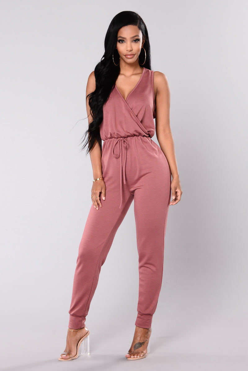 Tough Chick Surplice Jumpsuit - Mauve