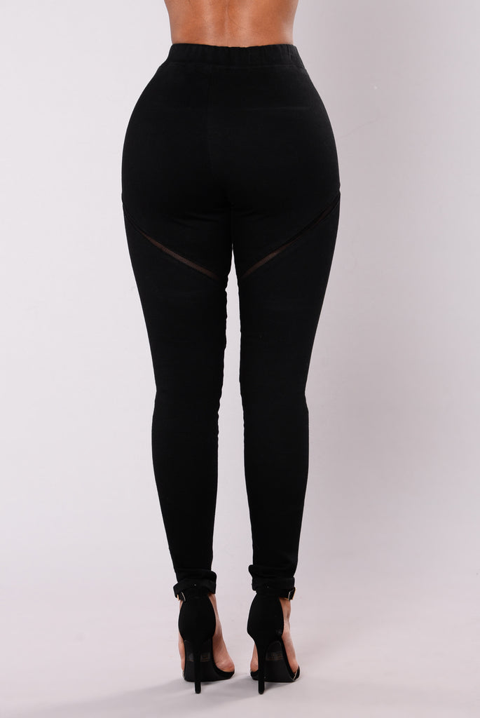 Love Yourself Mesh Jeggings - Black