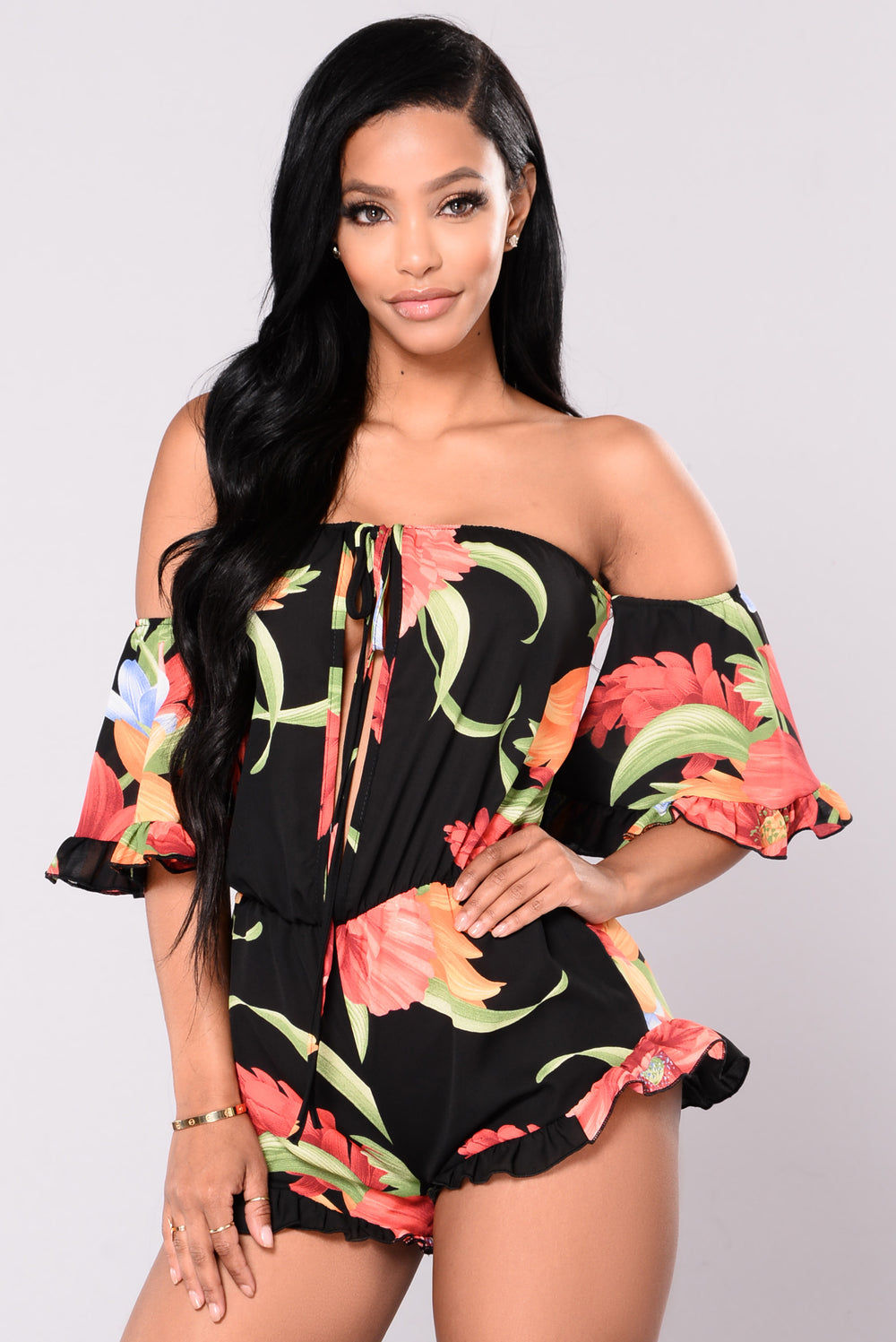 Trips To Puerto Rico Printed Romper - Black