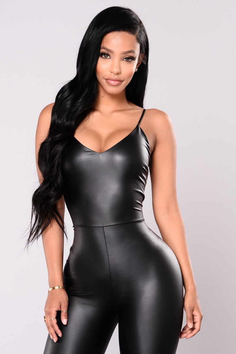 Feels So Classic Faux Leather Jumpsuit - Black