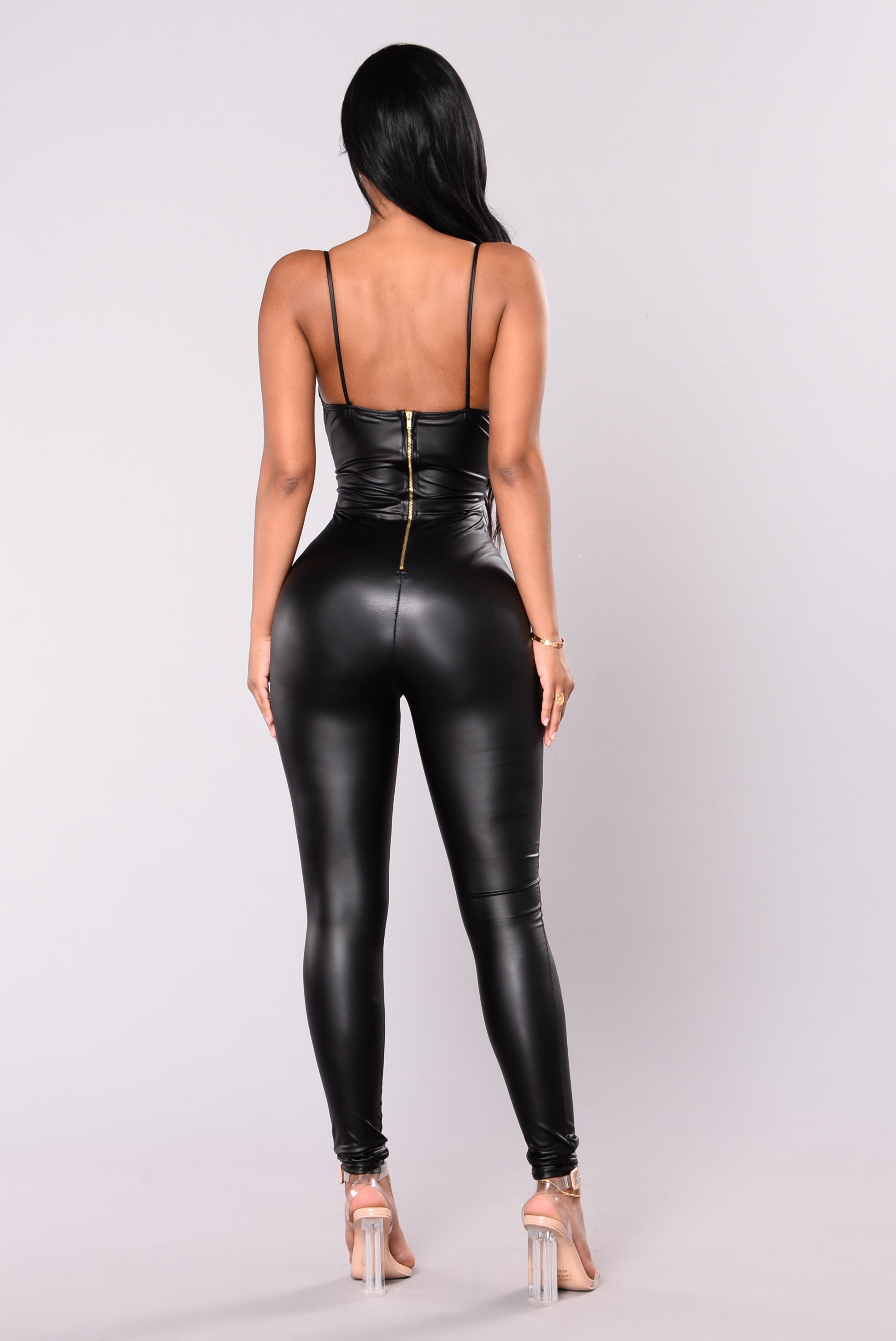Feels So Classic Faux Leather Jumpsuit Black