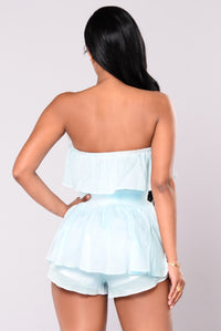 Top On Drop Romper - Blue/White
