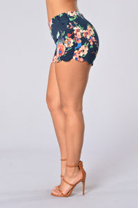 Spring Bloom Shorts - Navy
