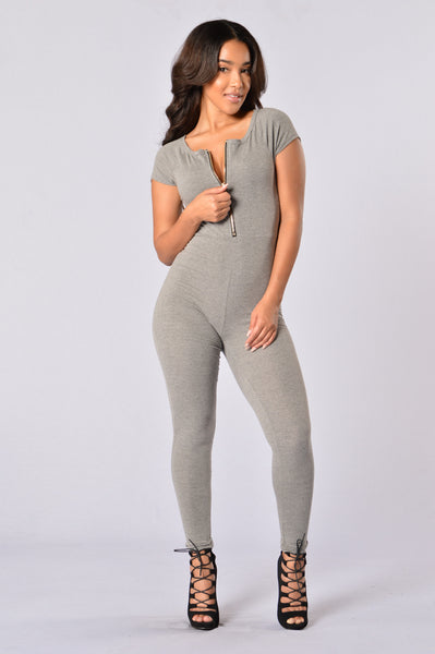 Love Through Her Jumpsuit - Heather Grey