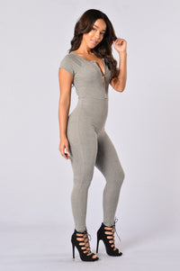Love Through Her Jumpsuit - Heather Grey Angle 3