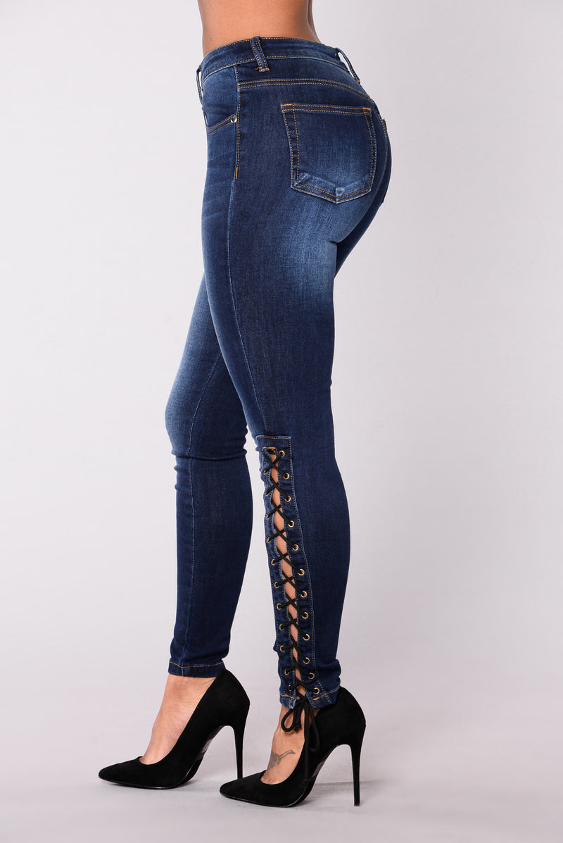 Midtown Mashup Side Tie Jeans - Dark