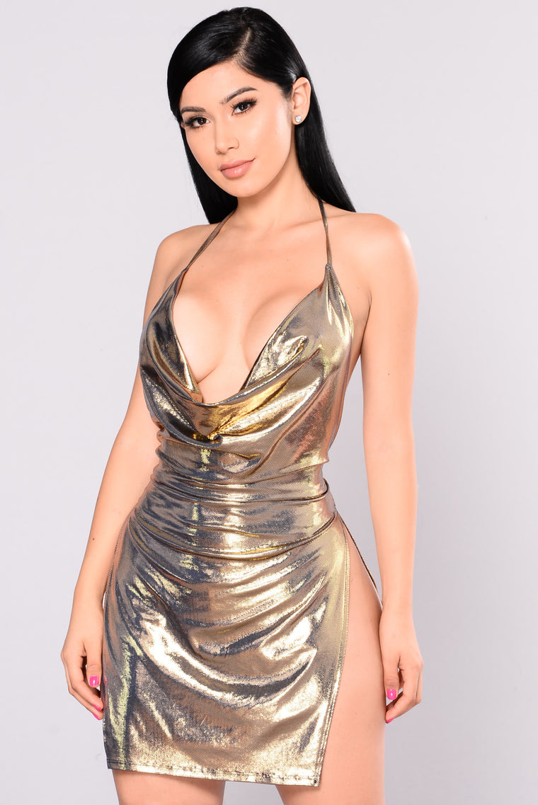 Janella Foil Dress - Navy/Gold