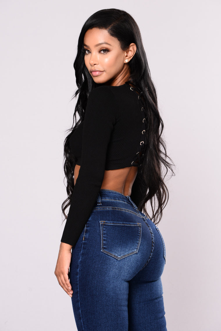 Divona Ribbed Crop Top - Black