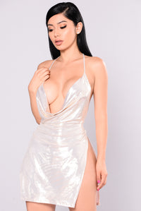 Janella Foil Dress - White/Gold