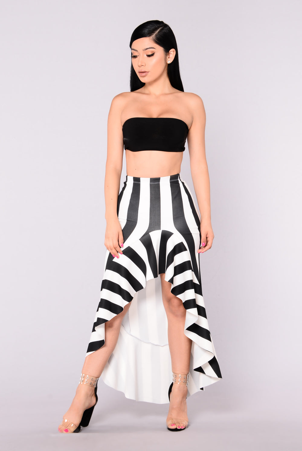 Spitfire Ruffle Skirt - Black/White