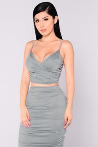 Calandra Satin Top - Sage