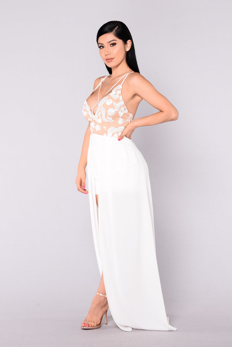 Fell From Heaven Embroidered Dress - White/Nude