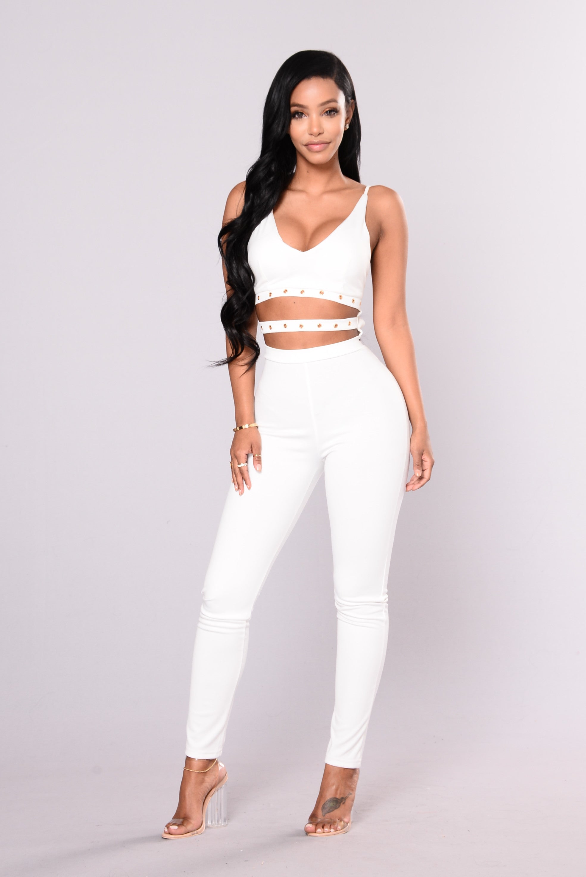 bac977b7d384 About Your Style Skinny Leg Jumpsuit - White