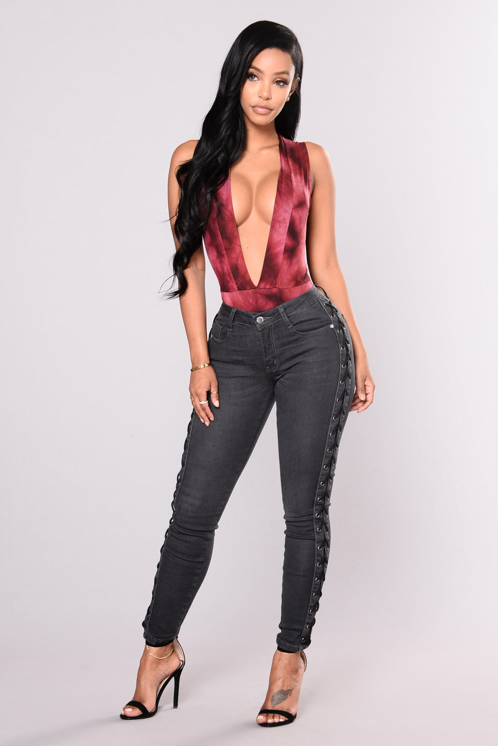 Miss Understood Lace Up Jeans - Grey