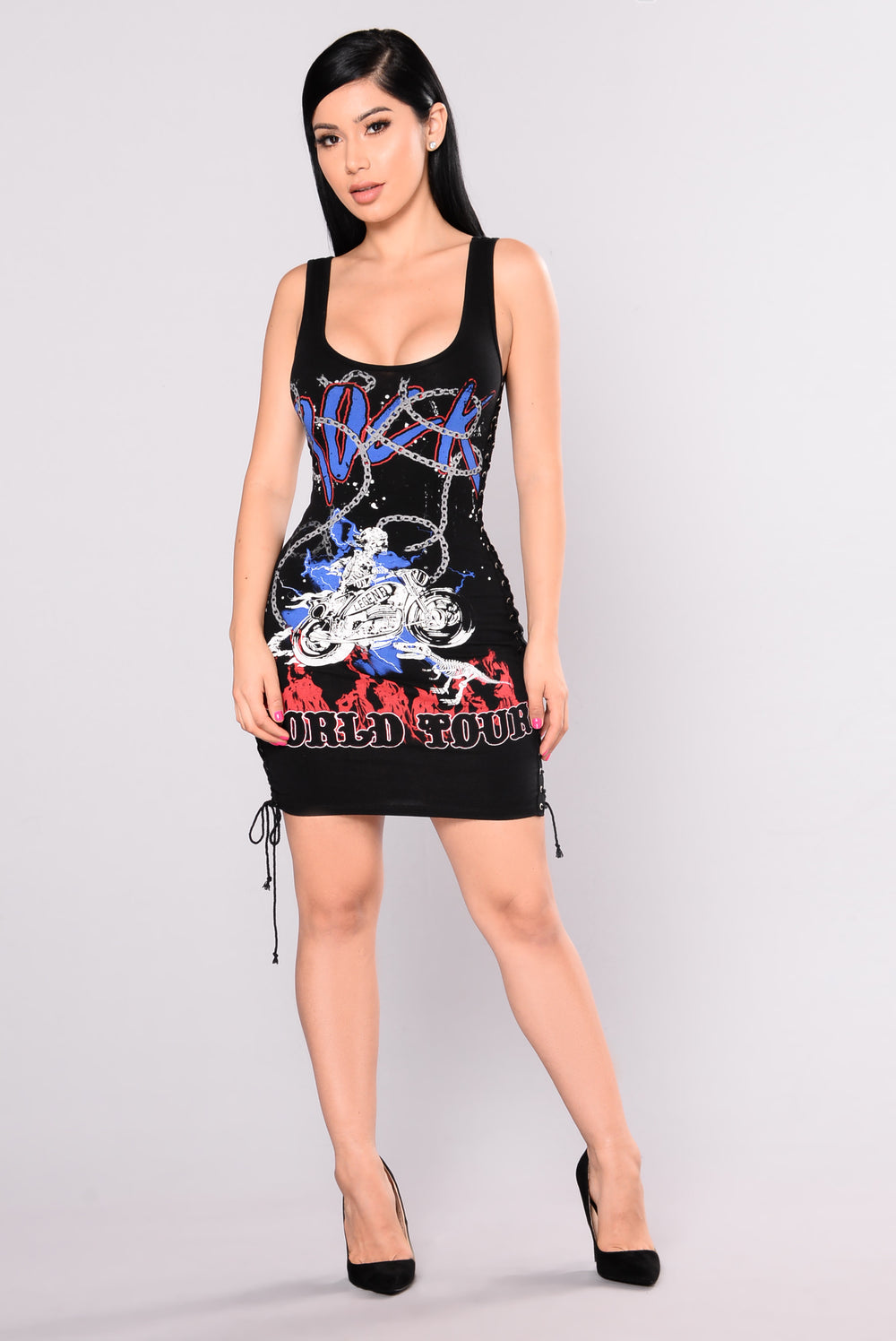 Chain Reaction Graphic Dress - Black