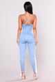 Step It Up Lace Up Jumpsuit - Light Wash
