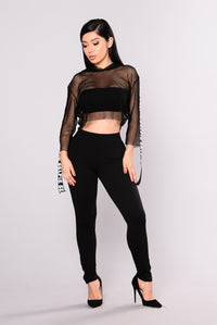 Manchester High Waist Leggings - Black Angle 5