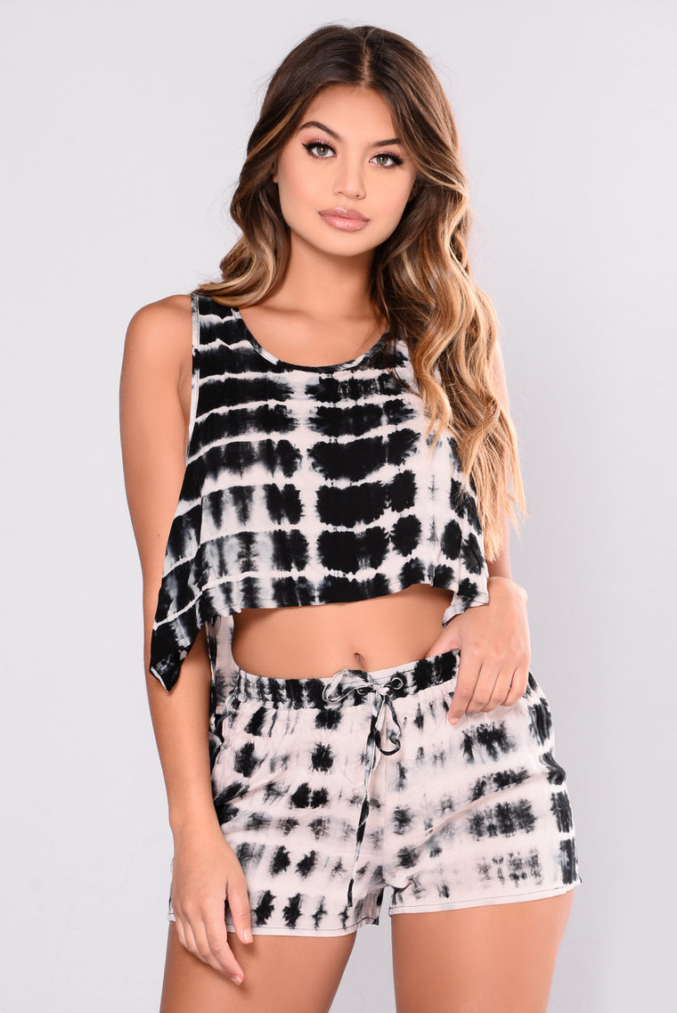 Karolina Tie Dye Top - Black
