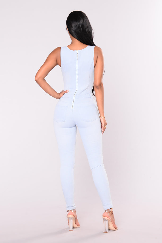 Break My Spell Denim Jumpsuit - Light Denim