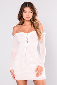 Maura Mesh Dress - White Angle 2