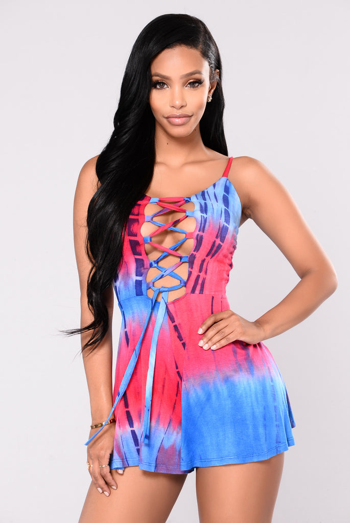 Fire Cracker Tie Dye Romper - Red/Royal