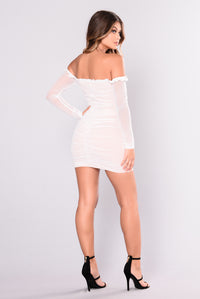 Maura Mesh Dress - White Angle 6