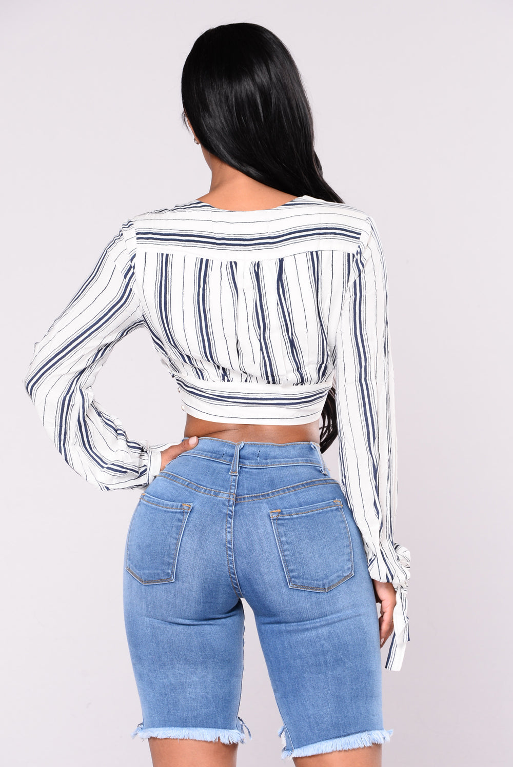 Get To Work Striped Top - Navy