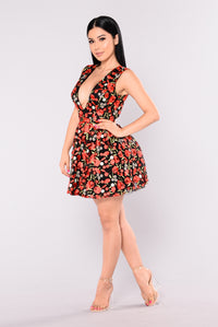 Sweet Carnations Skater Dress - Black