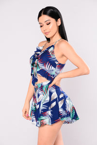 Sand Dollar Romper - Navy Tropical
