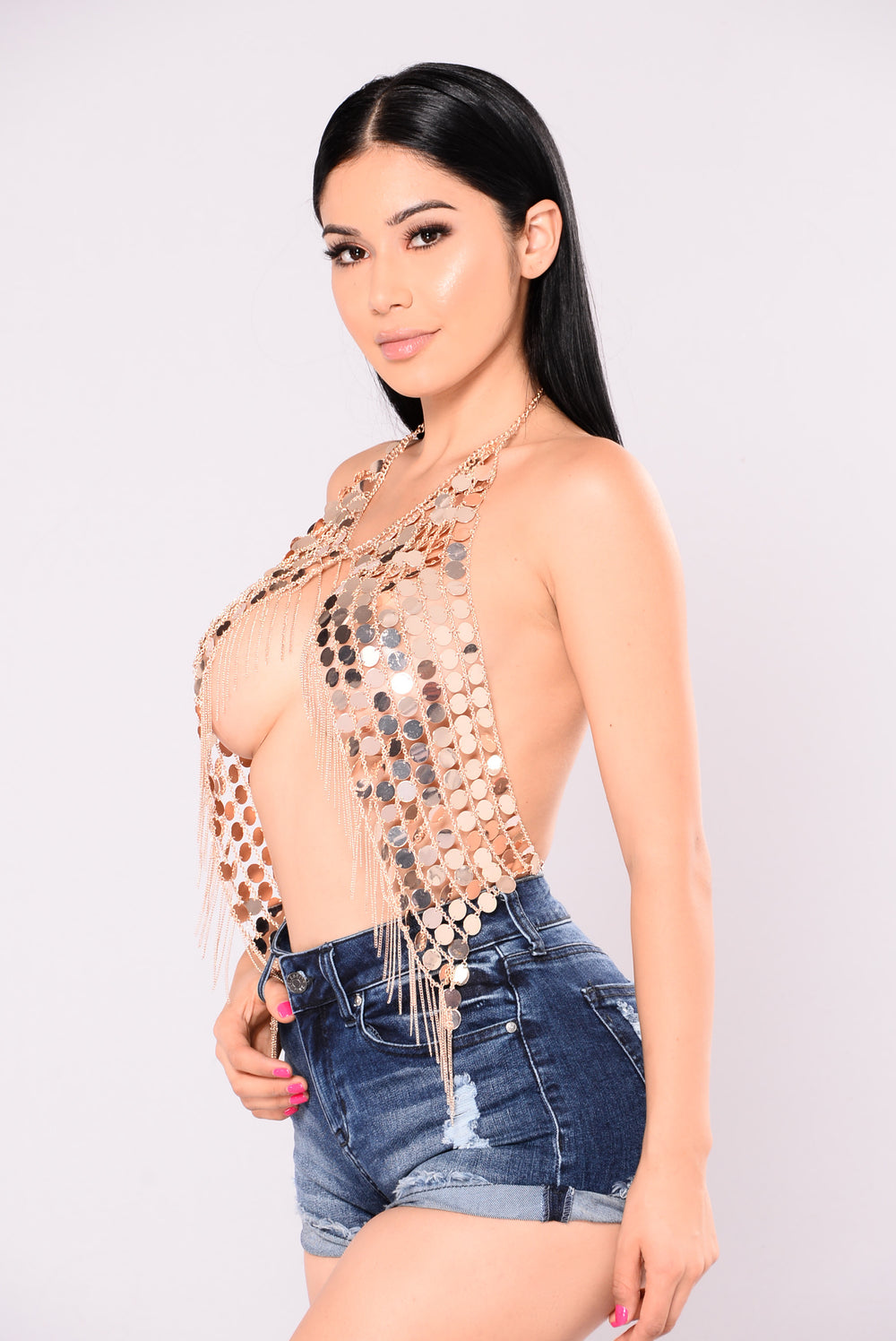 Glamazon Chain Top - Rose Gold