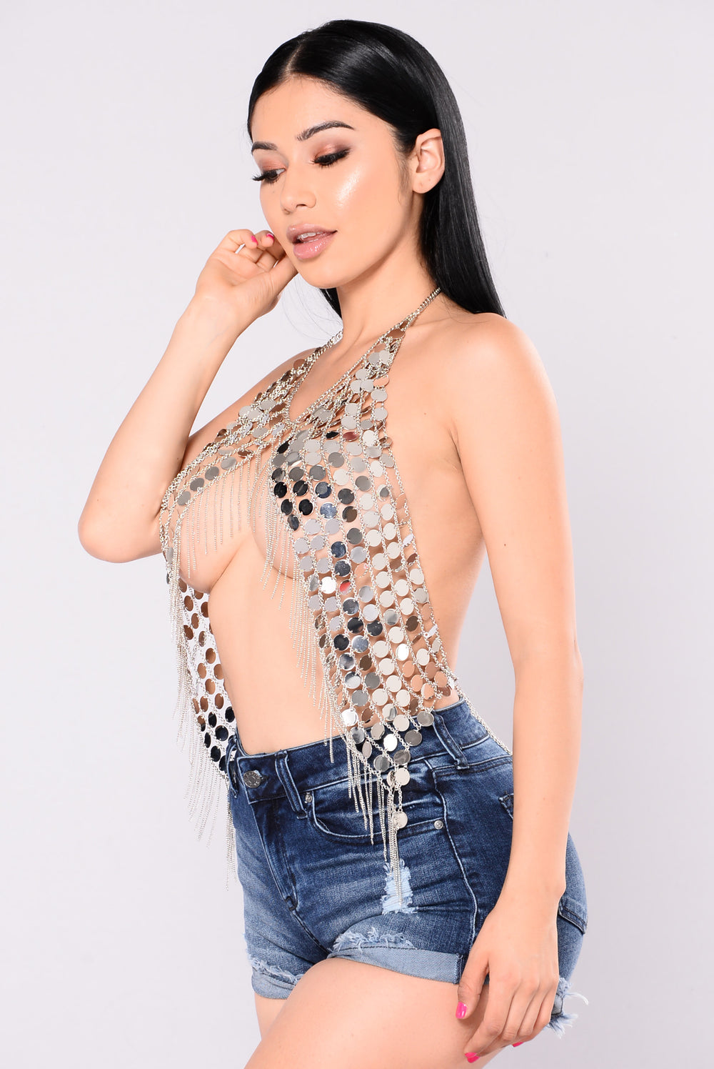 Glamazon Chain Top - Silver