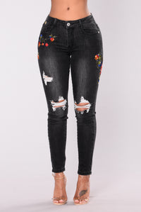 Waldorf Embroidered Jeans - Grey