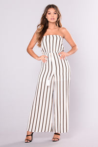 Stripe It Down Jumpsuit - Ivory Stripe