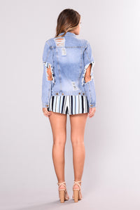 Halsey Distressed Denim Jacket - Denim