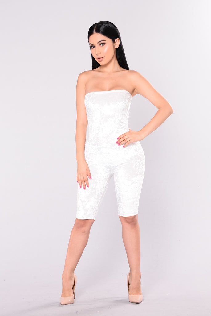 Glee Crushed Velvet Jumpsuit - Ivory